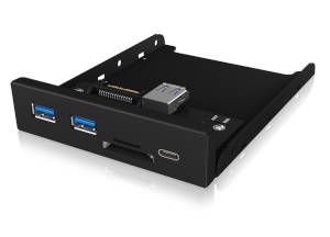 ICY BOX IB-HUB1417-i3 Frontpanel with USB 3.0 Type-C™ and Type-A hub with card reader